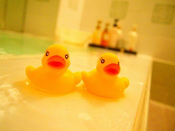 お風呂とアヒルのおもちゃ